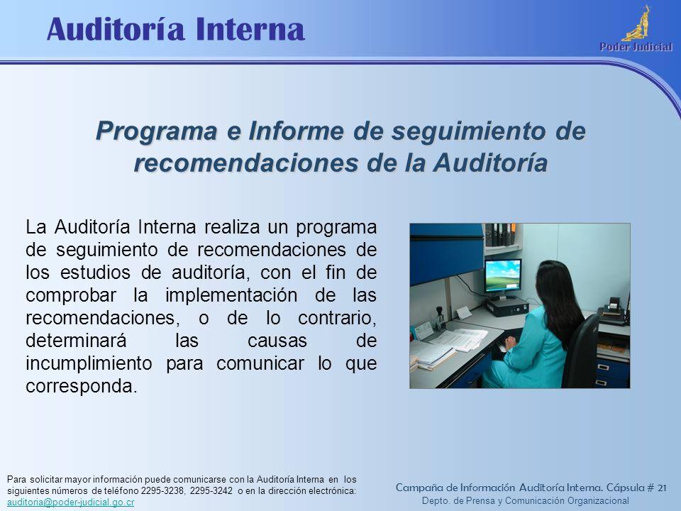 Programa e Informe de seguimiento de recomendaciones de la Auditoría
