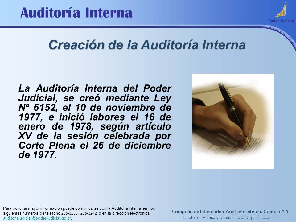 Creación de la Auditoría Interna