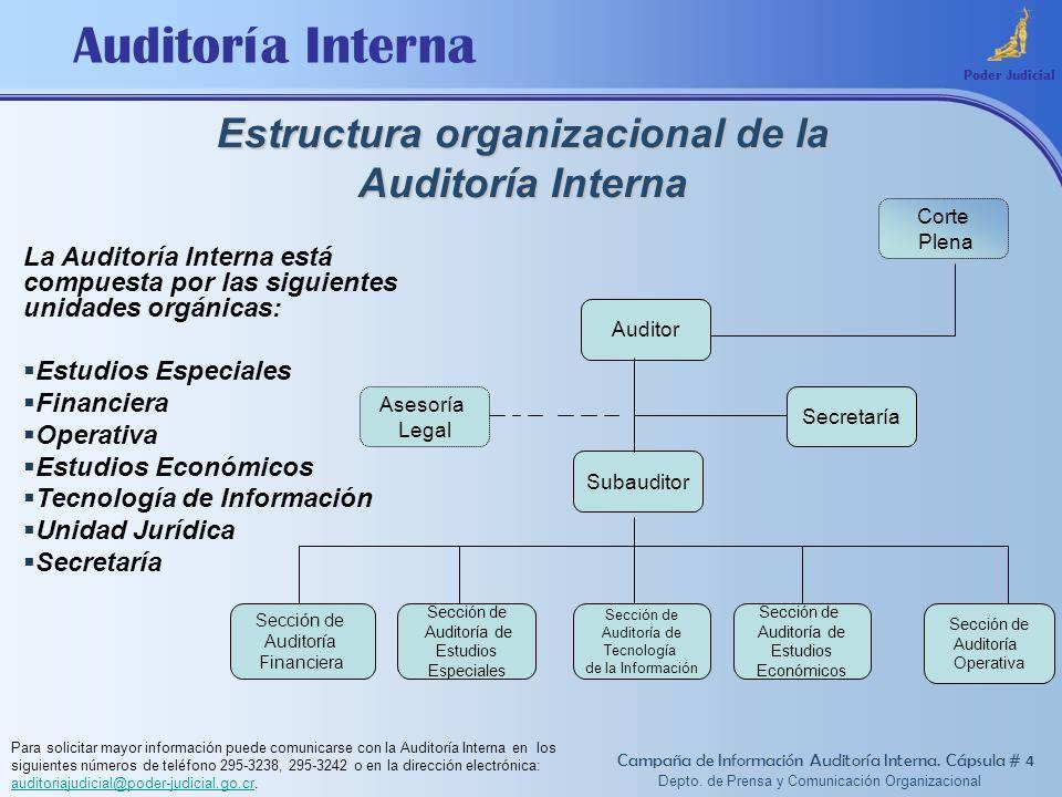 Estructura organizacional de la Auditoría Interna