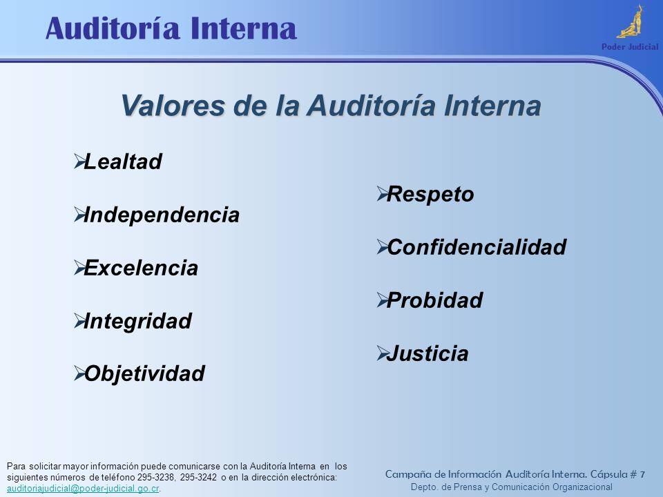 Valores de la Auditoría Interna