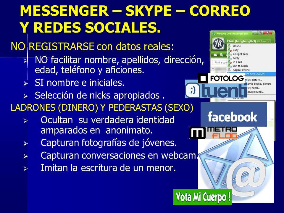 MESSENGER – SKYPE – CORREO Y REDES SOCIALES.