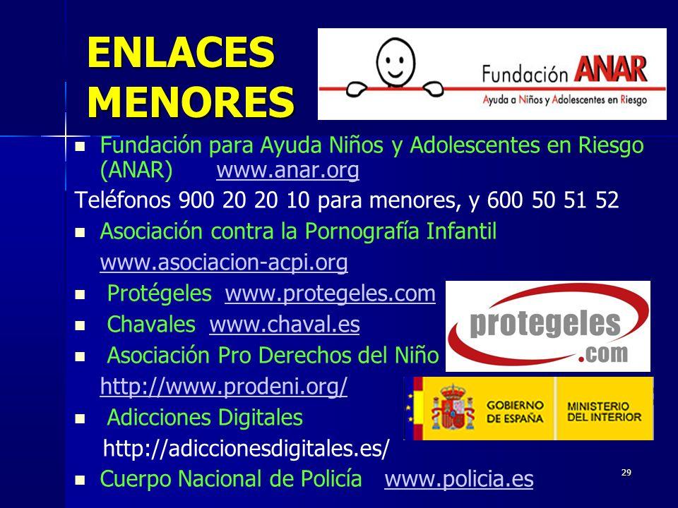 ENLACES MENORES Fundación para Ayuda Niños y Adolescentes en Riesgo (ANAR) www.anar.org. Teléfonos 900 20 20 10 para menores, y 600 50 51 52.