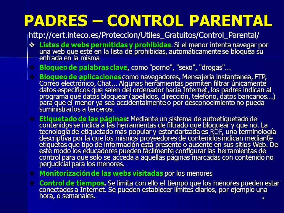 PADRES – CONTROL PARENTAL