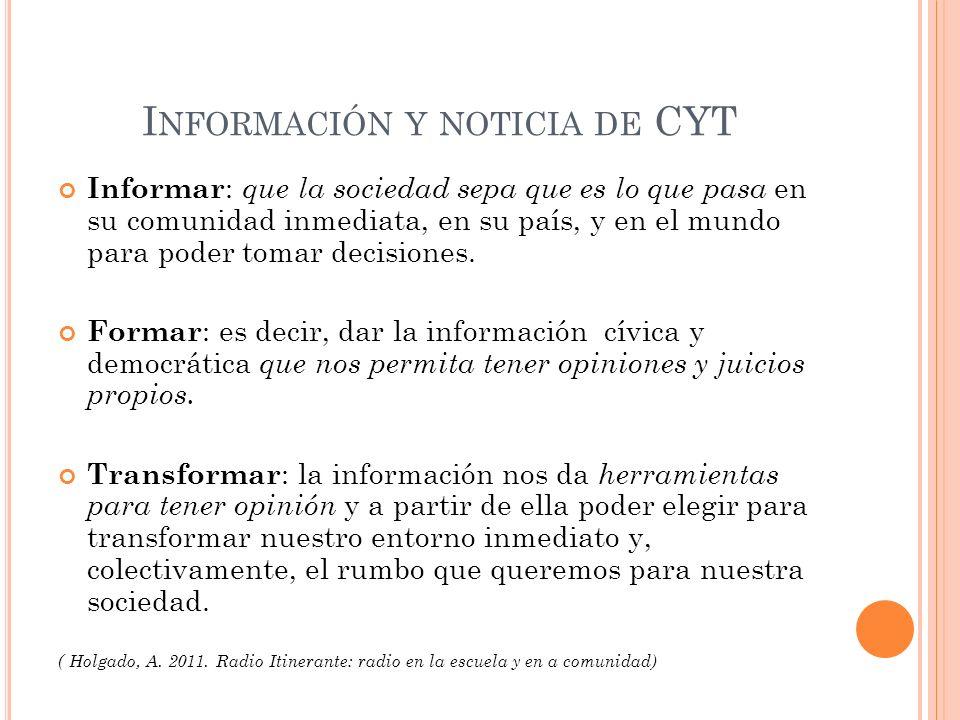 Información y noticia de CYT