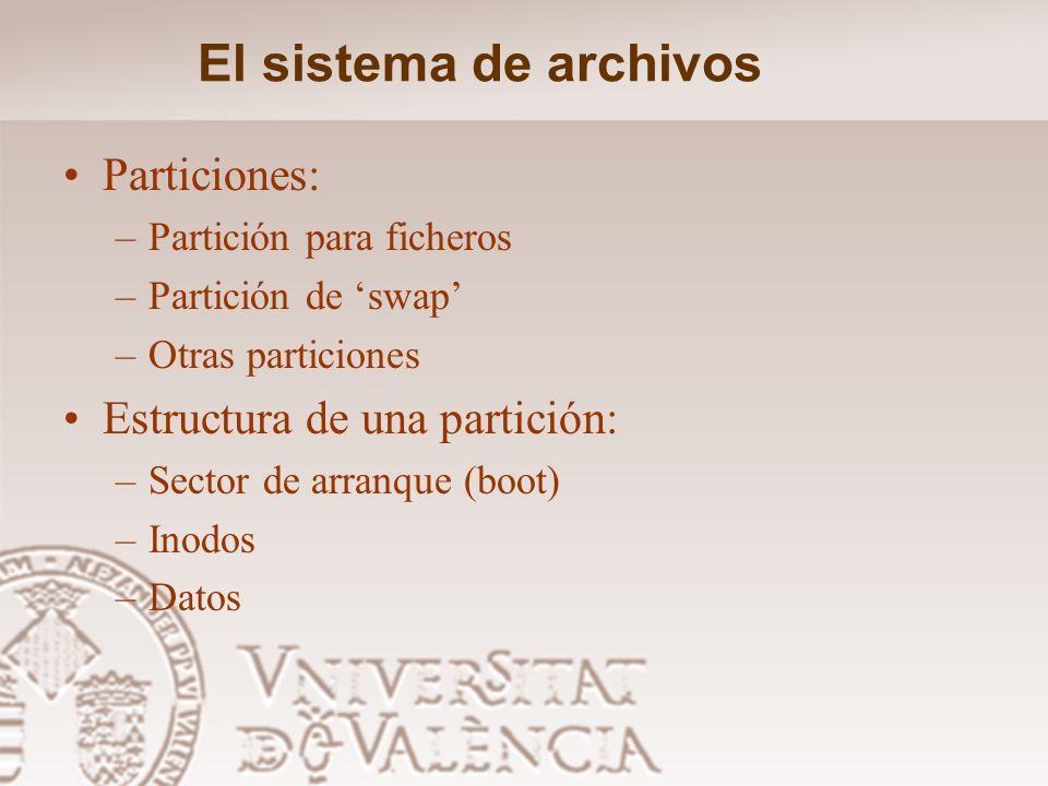 El sistema de archivos Particiones: Estructura de una partición: