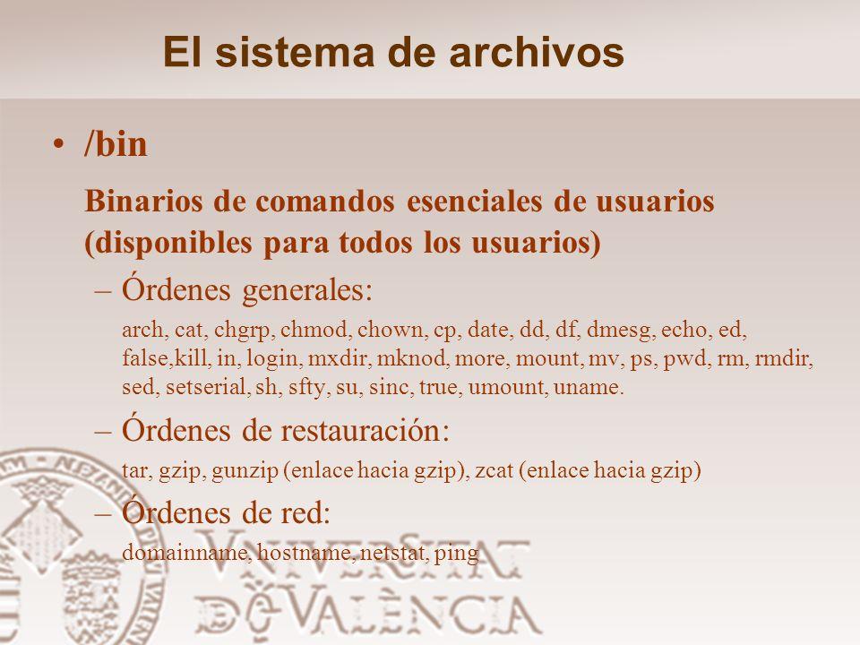 El sistema de archivos /bin
