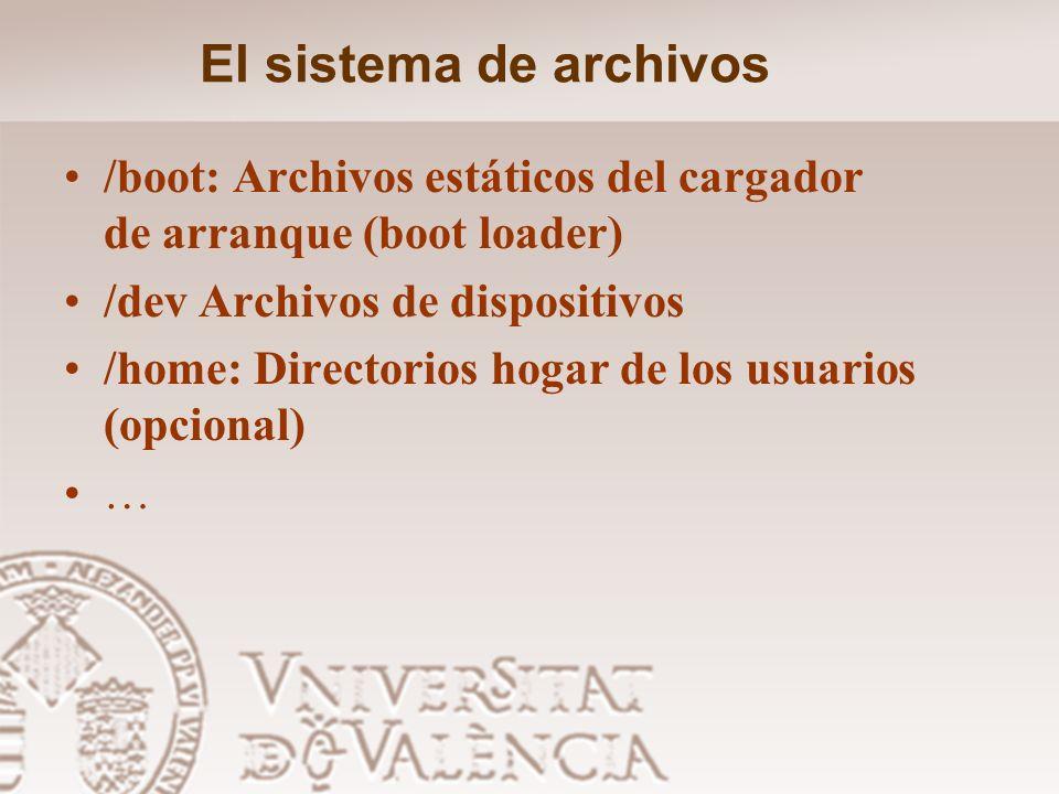 El sistema de archivos/boot: Archivos estáticos del cargador de arranque (boot loader) /dev Archivos de dispositivos.