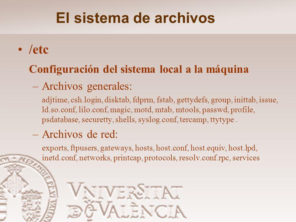 El sistema de archivos /etc