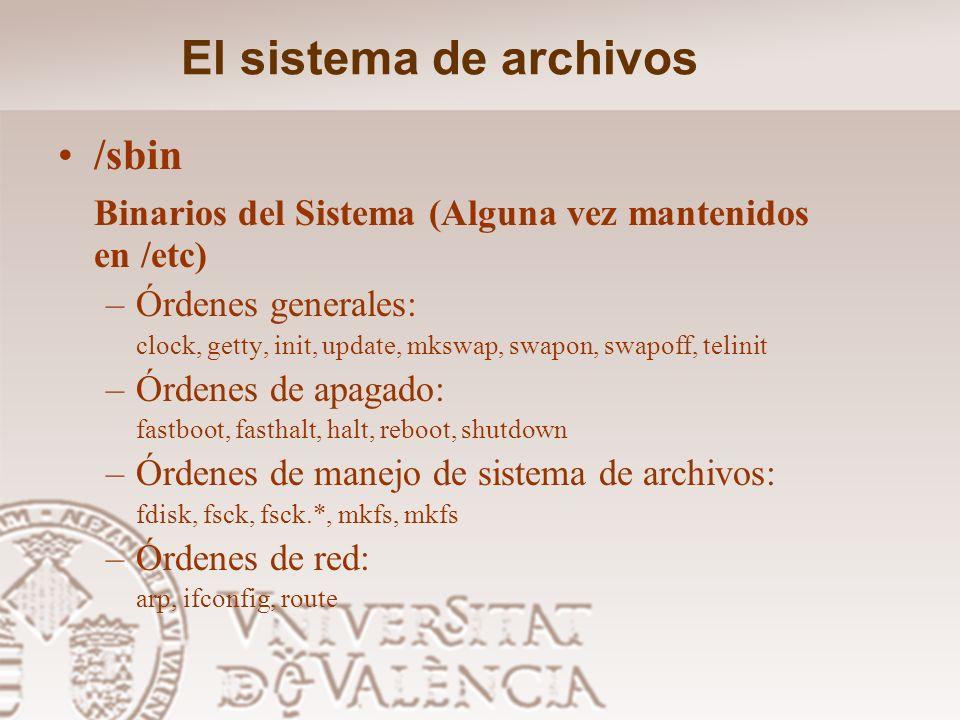 El sistema de archivos /sbin