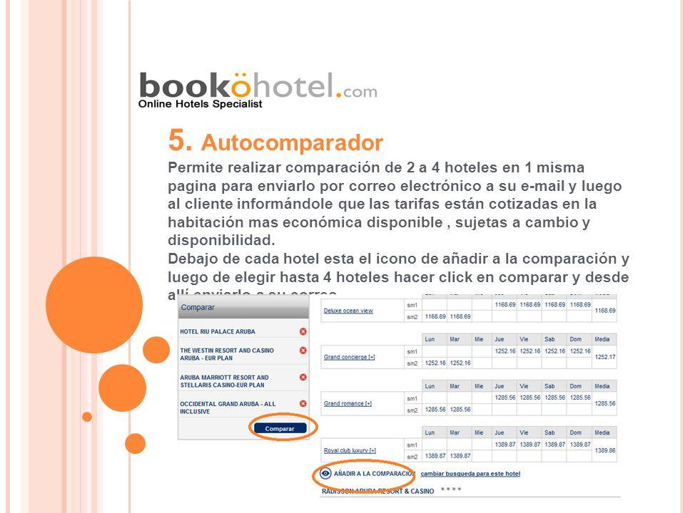 5. Autocomparador Permite realizar comparación de 2 a 4 hoteles en 1 misma. pagina para enviarlo por correo electrónico a su e-mail y luego.
