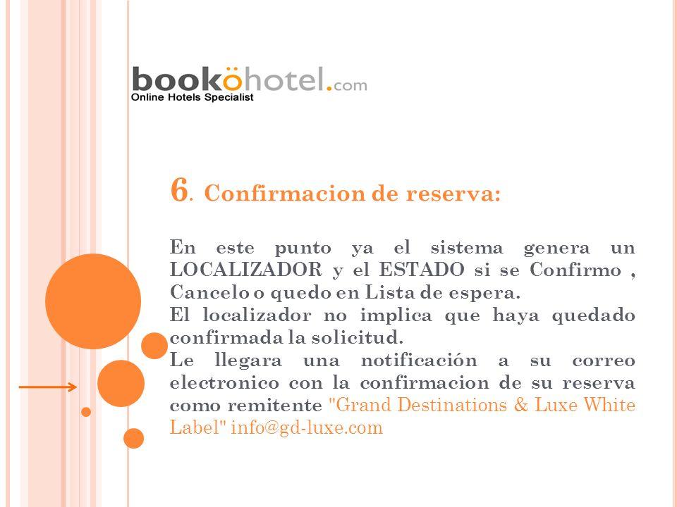 6. Confirmacion de reserva: