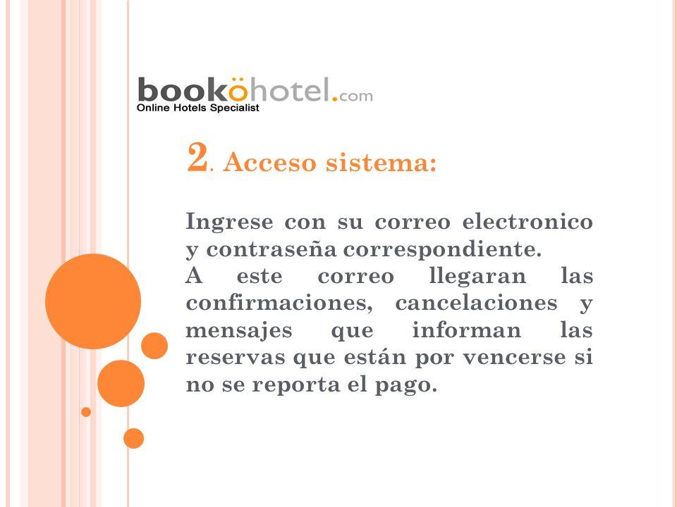 2. Acceso sistema: Ingrese con su correo electronico y contraseña correspondiente.