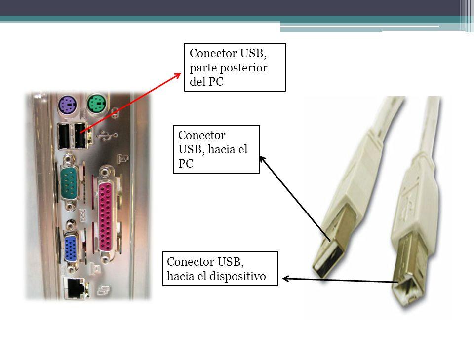 Conector USB, parte posterior del PC