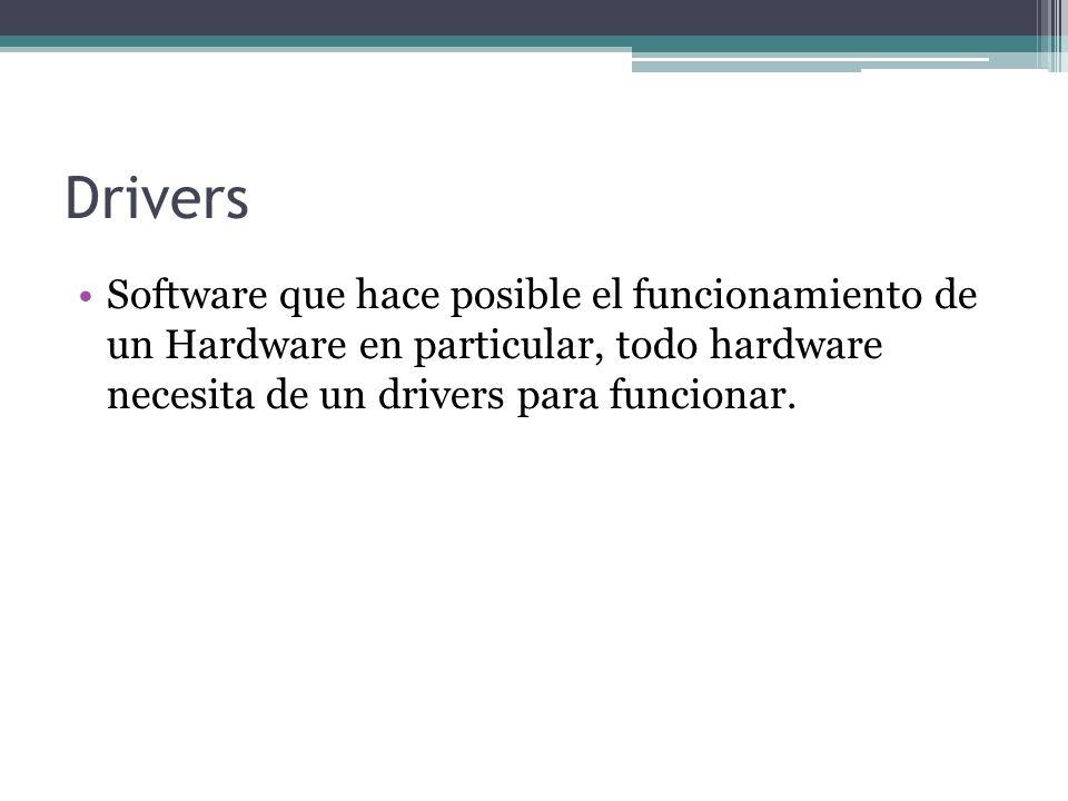 Drivers Software que hace posible el funcionamiento de un Hardware en particular, todo hardware necesita de un drivers para funcionar.