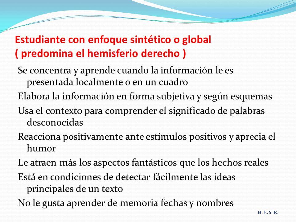 Estudiante con enfoque sintético o global ( predomina el hemisferio derecho )
