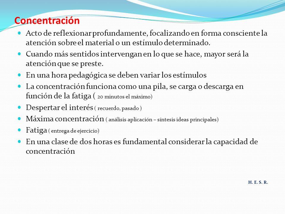 Concentración Acto de reflexionar profundamente, focalizando en forma consciente la atención sobre el material o un estímulo determinado.