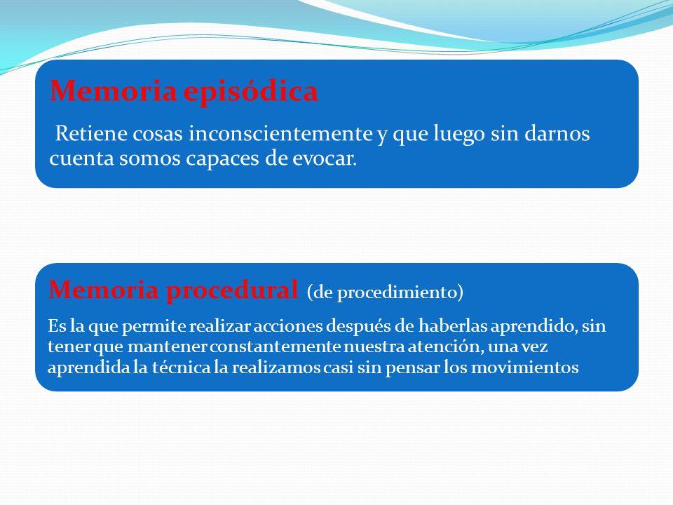Memoria episódica Memoria procedural (de procedimiento)