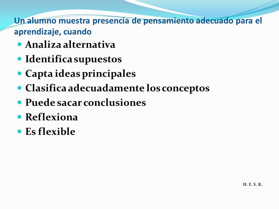 Capta ideas principales Clasifica adecuadamente los conceptos