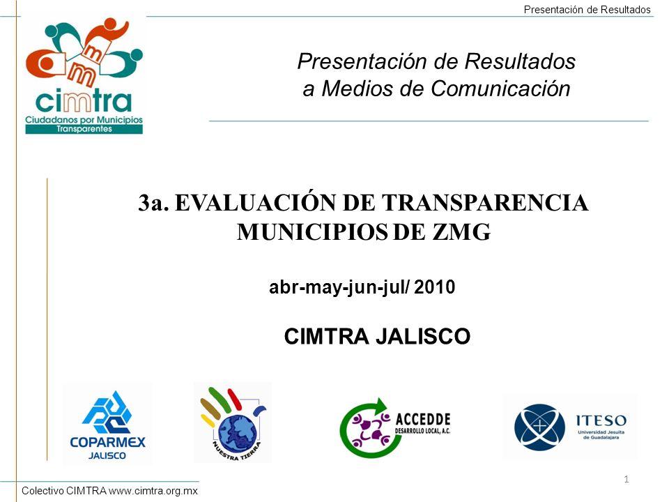 3a. EVALUACIÓN DE TRANSPARENCIA MUNICIPIOS DE ZMG