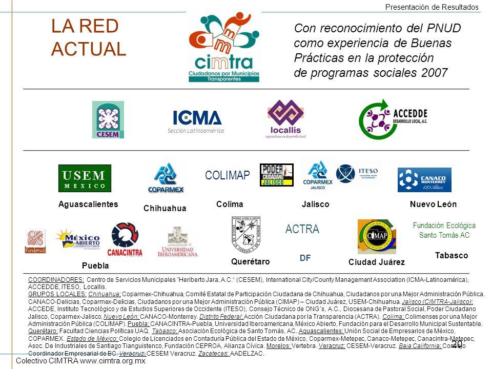 LA RED ACTUAL Con reconocimiento del PNUD como experiencia de Buenas