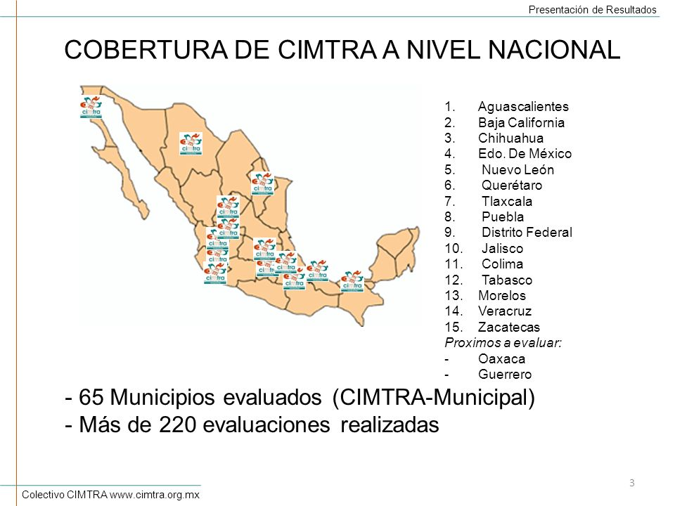 COBERTURA DE CIMTRA A NIVEL NACIONAL