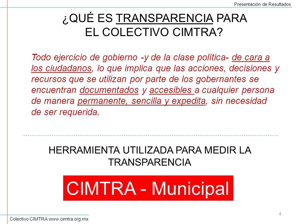 CIMTRA - Municipal ¿QUÉ ES TRANSPARENCIA PARA EL COLECTIVO CIMTRA