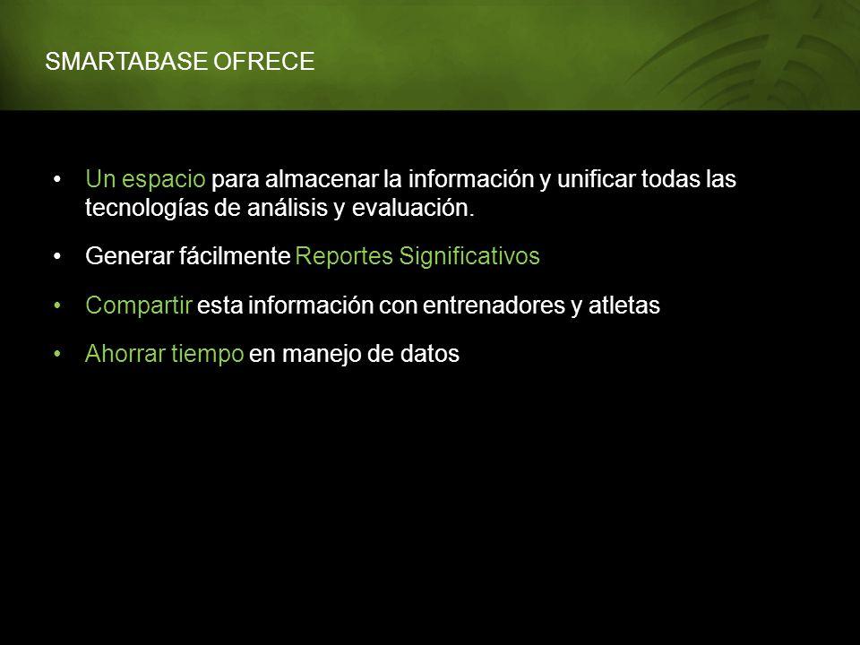 SMARTABASE OFRECE Un espacio para almacenar la información y unificar todas las tecnologías de análisis y evaluación.