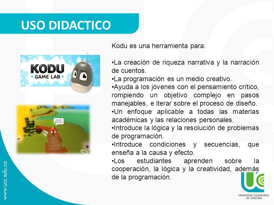 USO DIDACTICO Kodu es una herramienta para: