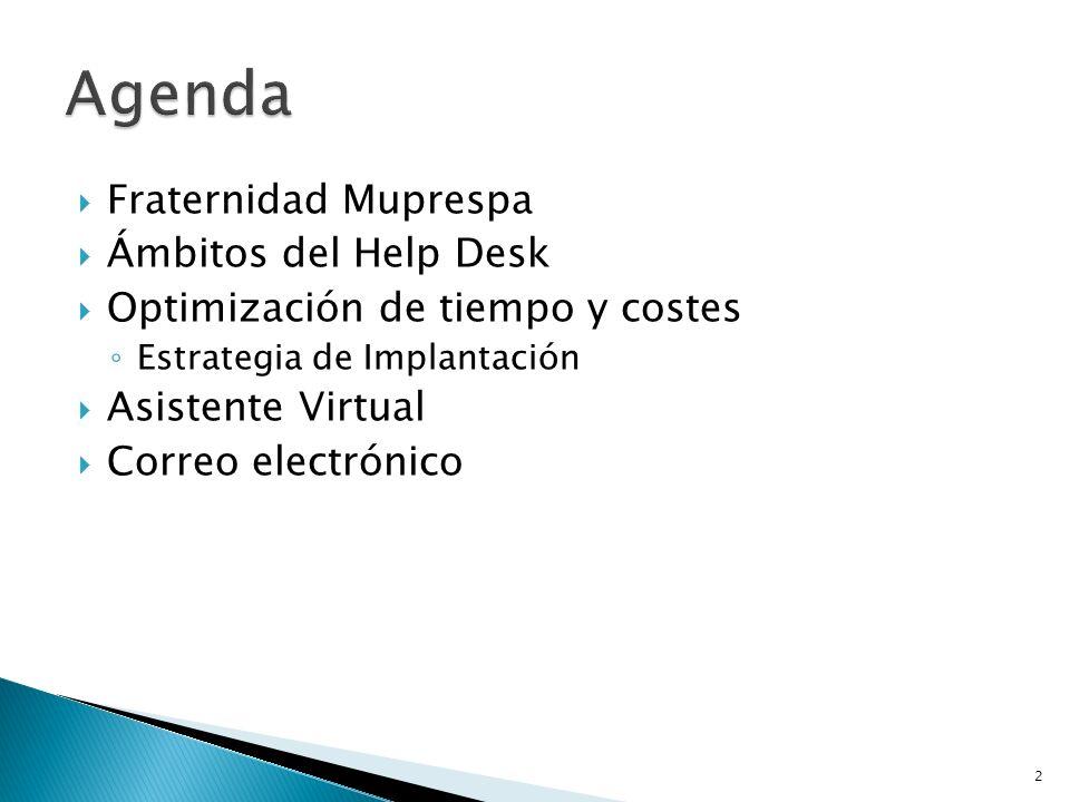 Agenda Fraternidad Muprespa Ámbitos del Help Desk