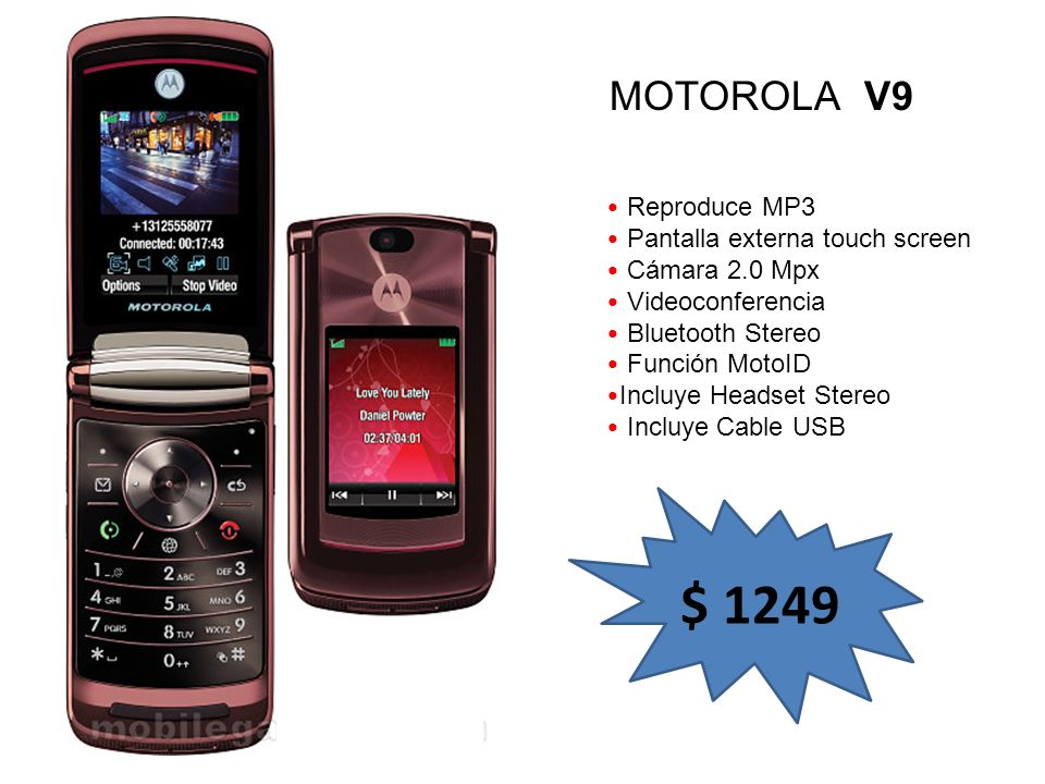 $ 1249 MOTOROLA V9 Reproduce MP3 Pantalla externa touch screen