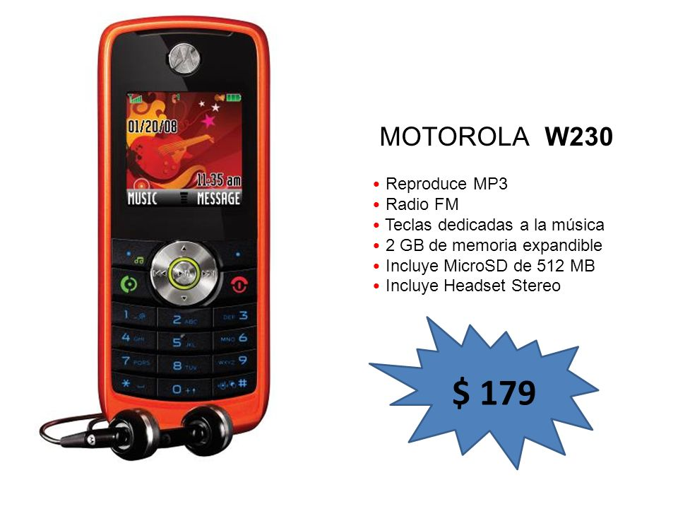 $ 179 MOTOROLA W230 Reproduce MP3 Radio FM