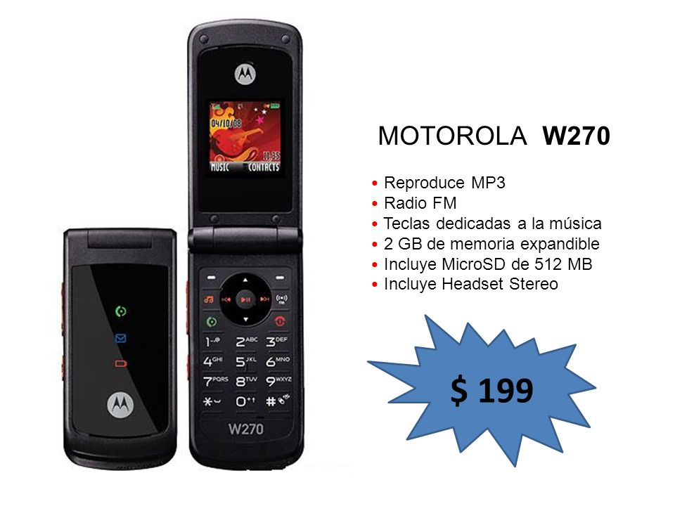 $ 199 MOTOROLA W270 Reproduce MP3 Radio FM