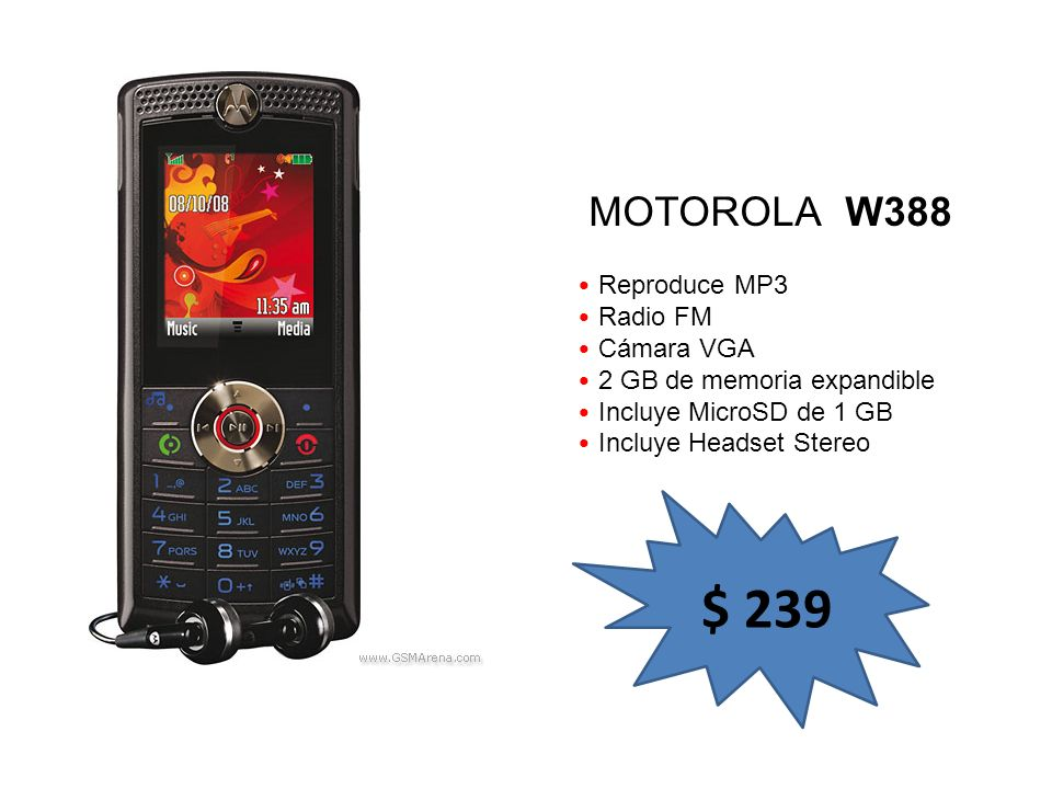 $ 239 MOTOROLA W388 Reproduce MP3 Radio FM Cámara VGA
