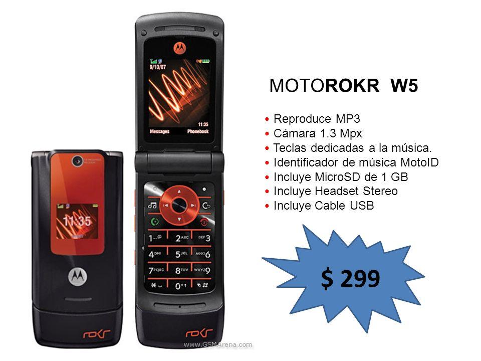 $ 299 MOTOROKR W5 Reproduce MP3 Cámara 1.3 Mpx