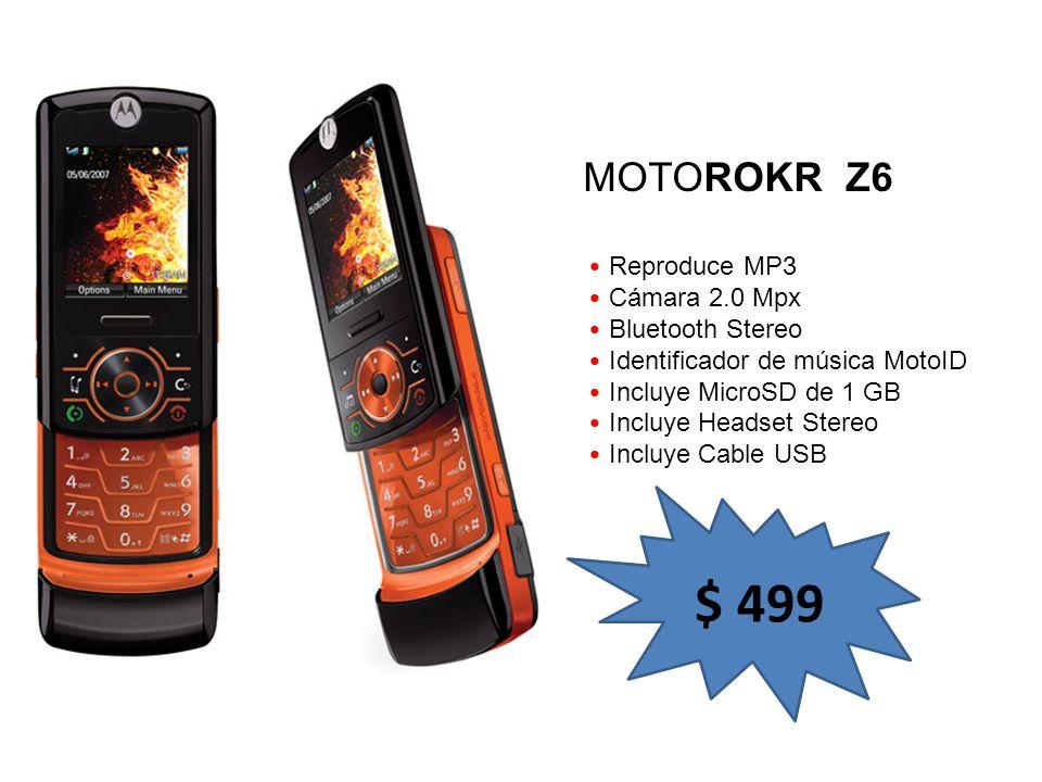 $ 499 MOTOROKR Z6 Reproduce MP3 Cámara 2.0 Mpx Bluetooth Stereo