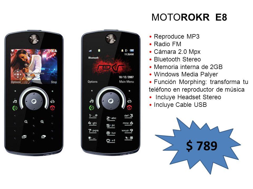 $ 789 MOTOROKR E8 Reproduce MP3 Radio FM Cámara 2.0 Mpx