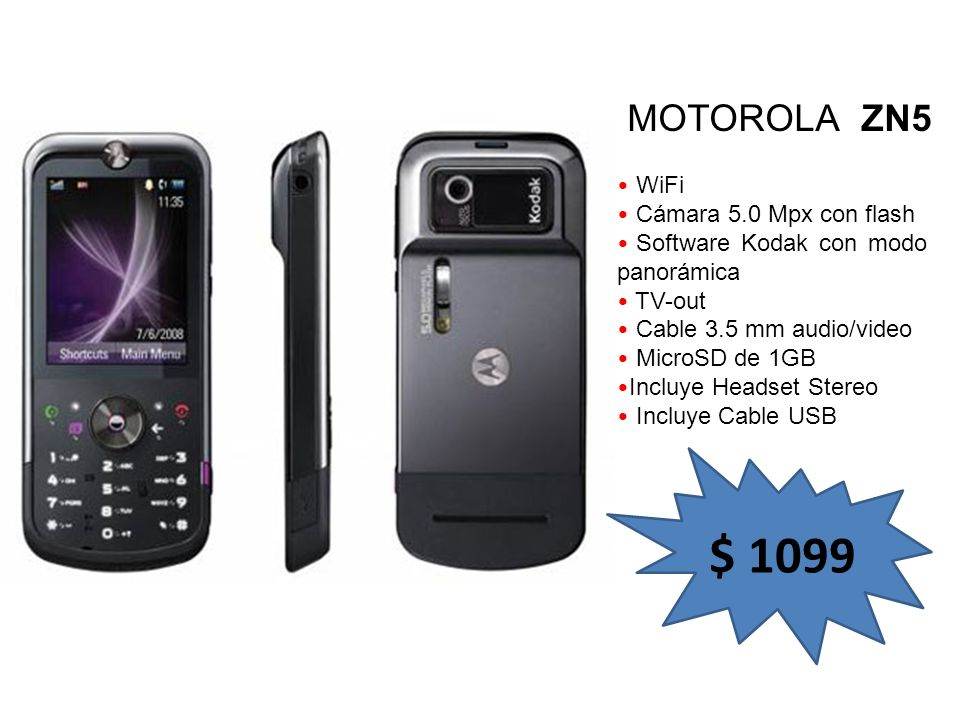 $ 1099 MOTOROLA ZN5 WiFi Cámara 5.0 Mpx con flash
