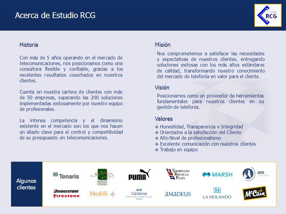 Acerca de Estudio RCG Historia Misión Visión Valores Algunos clientes
