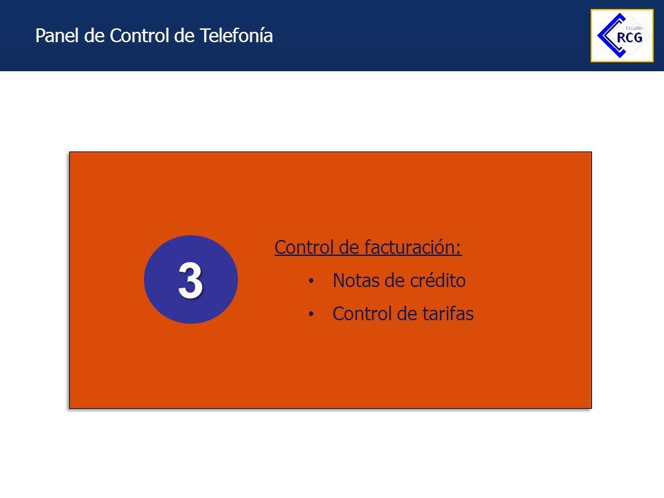 3 Panel de Control de Telefonía Control de facturación:
