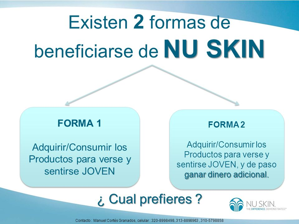 Existen 2 formas de beneficiarse de NU SKIN