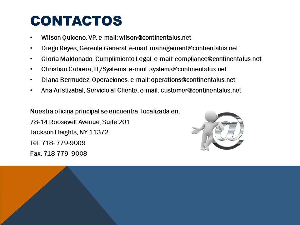 contactos Wilson Quiceno, VP. e-mail: wilson@continentalus.net
