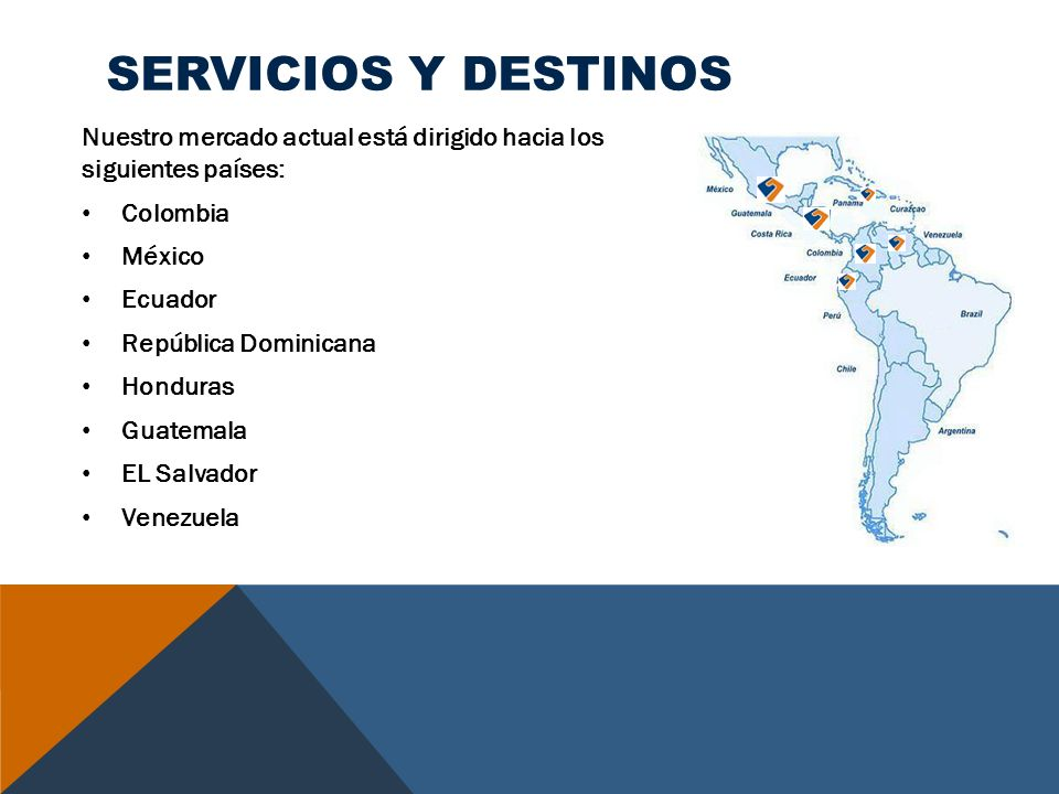 SERVICIOS Y DESTINOS Nuestro mercado actual está dirigido hacia los siguientes países: Colombia. México.