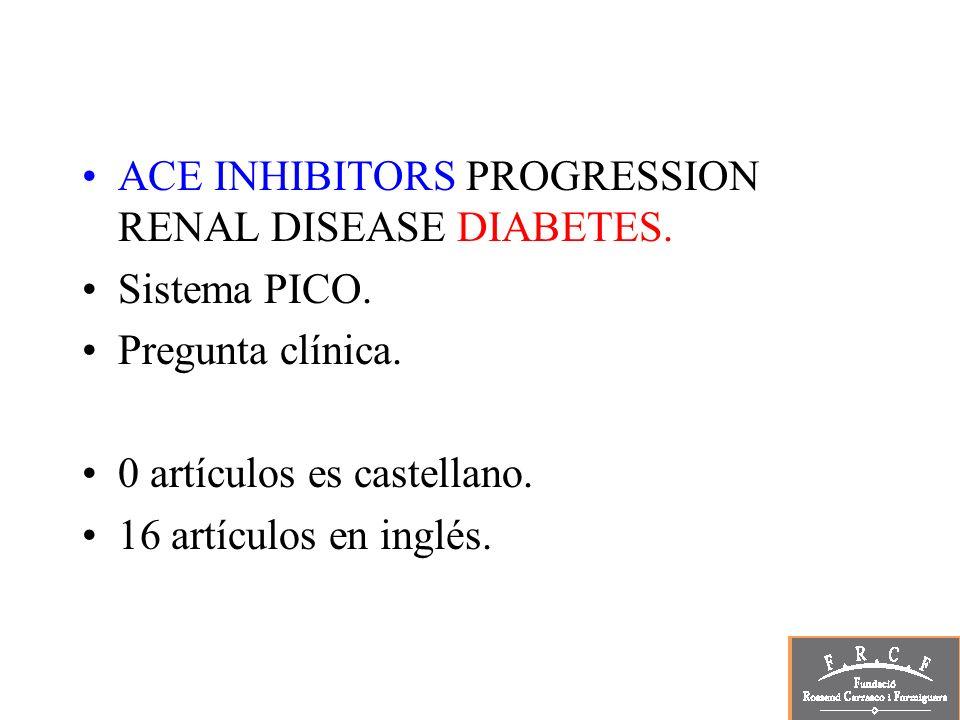 ACE INHIBITORS PROGRESSION RENAL DISEASE DIABETES.