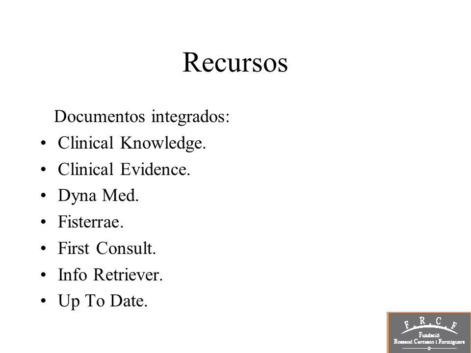 Recursos Documentos integrados: Clinical Knowledge. Clinical Evidence.