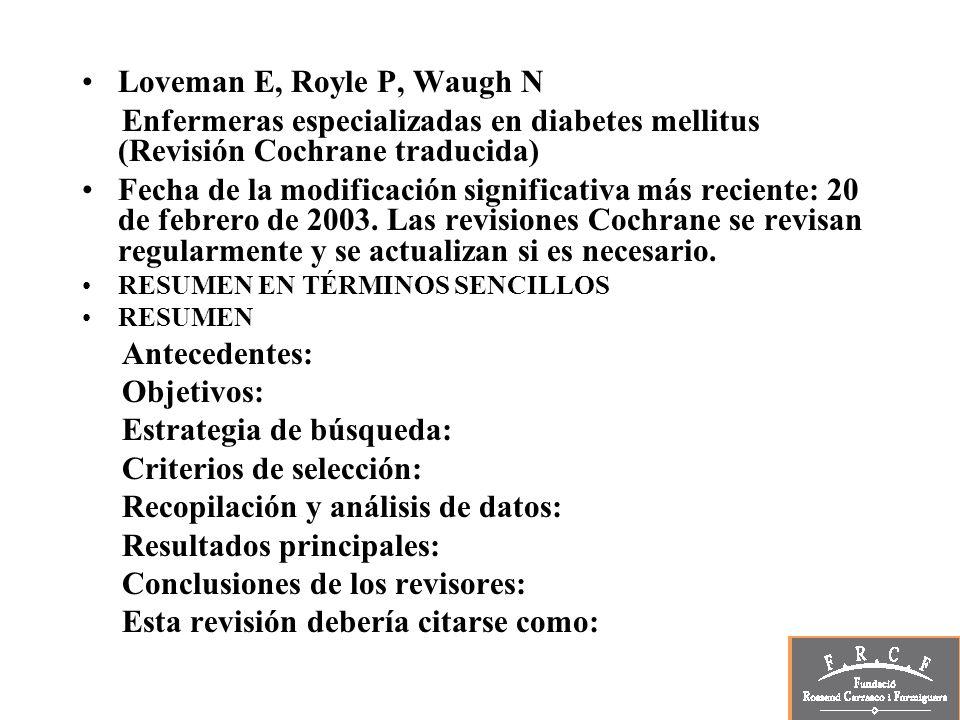 Loveman E, Royle P, Waugh N