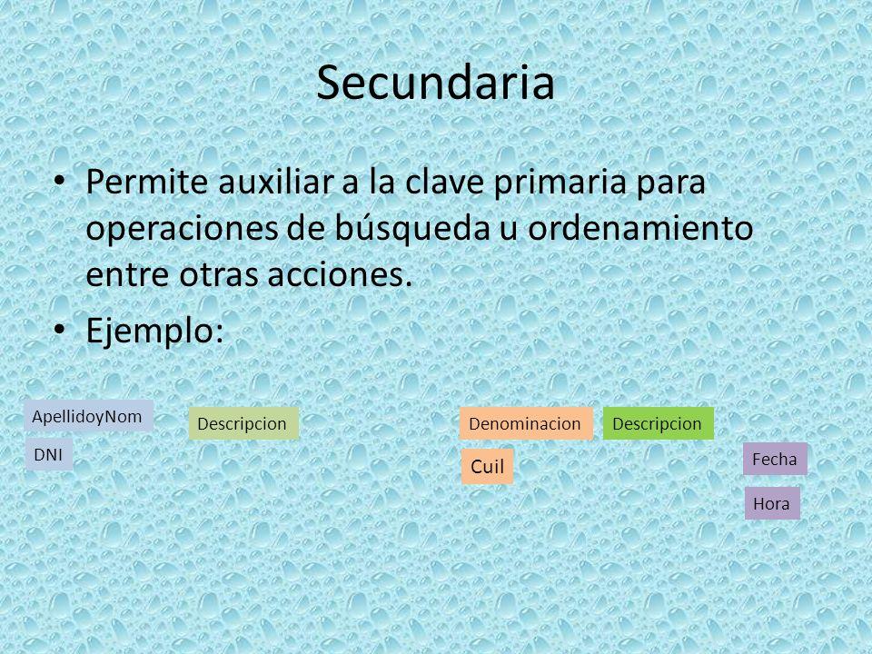 Secundaria Permite auxiliar a la clave primaria para operaciones de búsqueda u ordenamiento entre otras acciones.