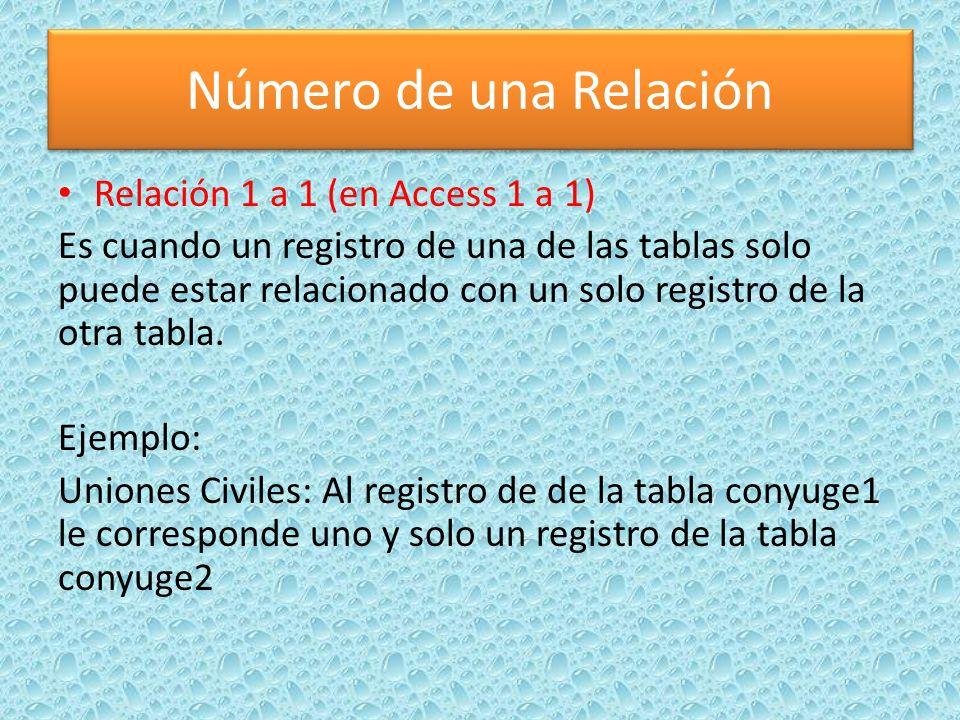 Número de una Relación Relación 1 a 1 (en Access 1 a 1)