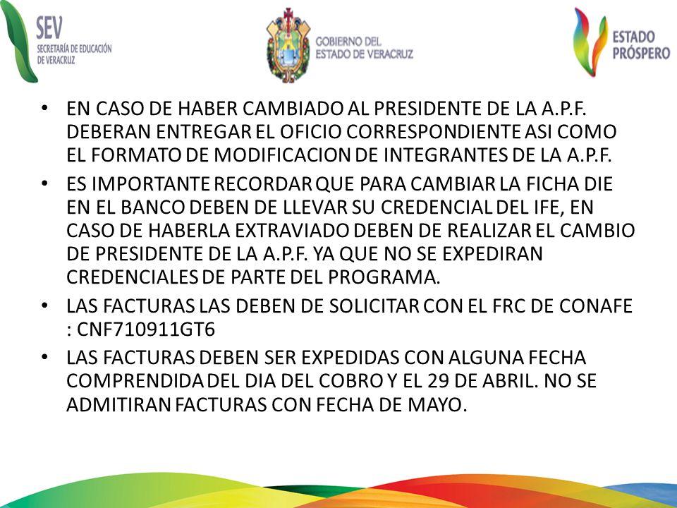EN CASO DE HABER CAMBIADO AL PRESIDENTE DE LA A. P. F