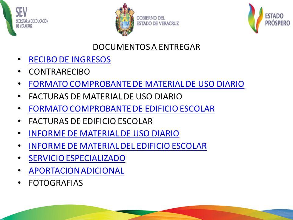 DOCUMENTOS A ENTREGAR RECIBO DE INGRESOS. CONTRARECIBO. FORMATO COMPROBANTE DE MATERIAL DE USO DIARIO.