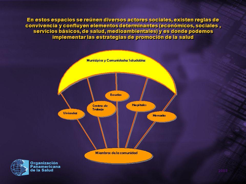 En estos espacios se reúnen diversos actores sociales, existen reglas de convivencia y confluyen elementos determinantes (económicos, sociales , servicios básicos, de salud, medioambientales) y es donde podemos implementar las estrategias de promoción de la salud